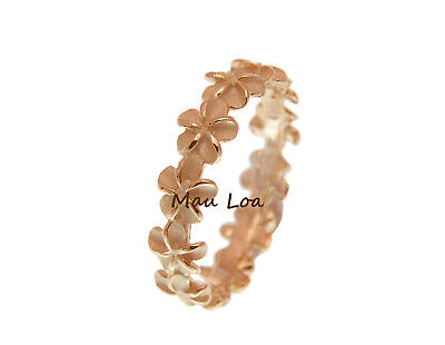 - 925 Sterling Silver Pink Rose Gold Plated Hawaiian Plumeria Flower Lei Ring 3-10