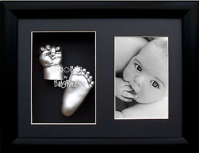 New baby casting kit gift set 3D plaster cast hand foot silver paint Black (Black Black Painted Cast)