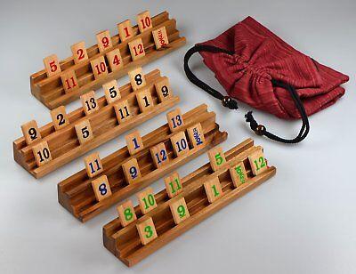 Rummy Legespiel sehr edle Ausführung aus Samena und Hevea Holz im Stoffbeutel