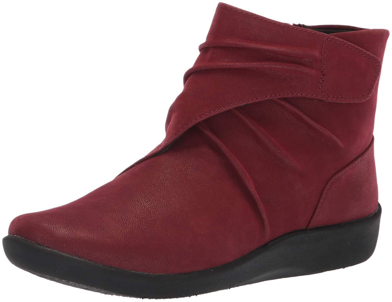 Clarks SILLIAN TANA Womens Burgundy 37567 Side Zip Boots
