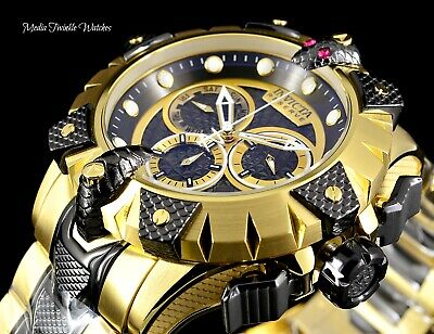 New Invicta Reserve 52mm Venom Viper Swiss Quartz Black & Gold Bracelet Watch