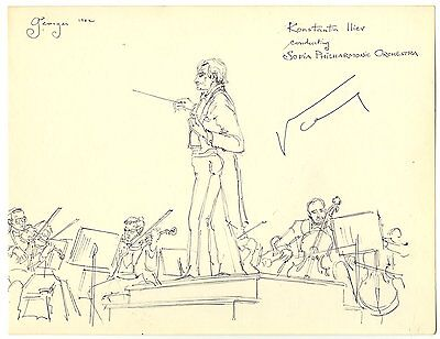 Konstantin Iliev Sofia Philharmonic Orchestra Autograph Original Drawing Signed