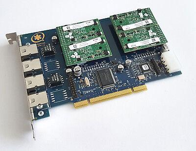 Digium Wildcard TDM410 inkl 4x S110M Modul 4port TDM PCI Voip Asterisk Karte