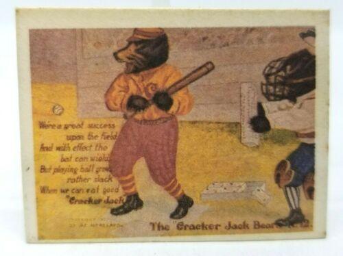 Vtg Cracker Jack Toy Surprise Cracker Jack Bears Pretend Postcards Mini Baseball