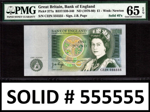 England One Pound 1978-80 SOLID Serial C22N 555555 Pick-377a GEM UNC PMG 65 EPQ
