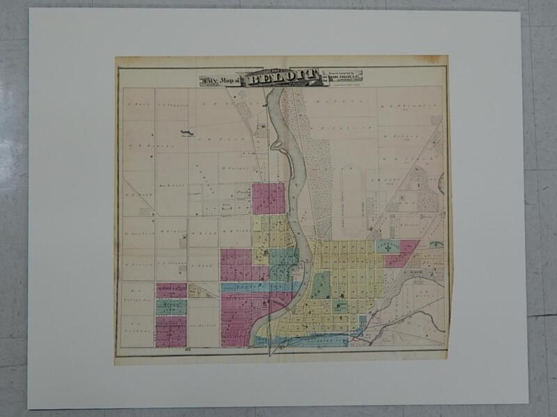 Wisconsin Antique Map 1873 Original Hand Color City of Beloit