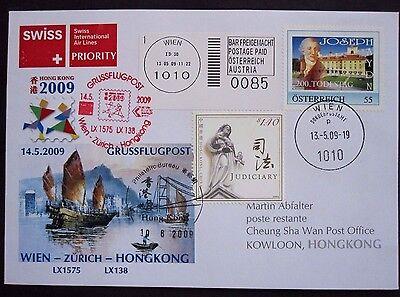 Österreich Brief Grussflugpost PM Joseph Haydn  Swiss-Flug Wien-Hongkonk SST