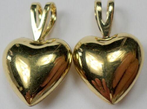 2 Vintage 14K Gold Filled Gold Heart Shaped Drop Dangle Earring Charms Pendants