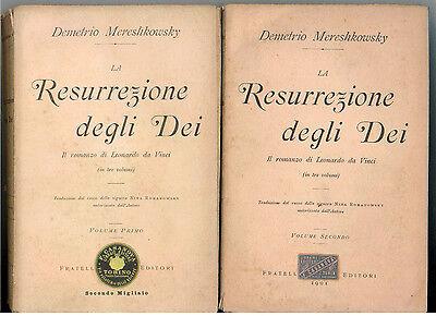 MERESHKOWSKY DEMETRIO LA RESURREZIONE DEGLI DEI TREVES 1901 3 VOLL. LEONARDO