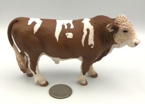 Schleich Brown & White SIMMENTAL BULL Cow Steer 13640 Farm Figure 2008