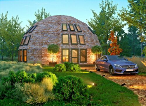 MOON HOUSE 40' DIAM DOME 1710 sq.ft STRUT FRAMING KIT WOOD PREFAB DIY HOME DIY