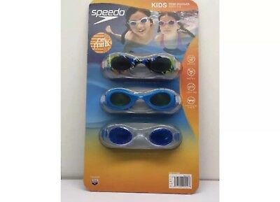 SPEEDO Kids SWIM GOGGLES 3-PACK: us protect latex free flex frame NEW