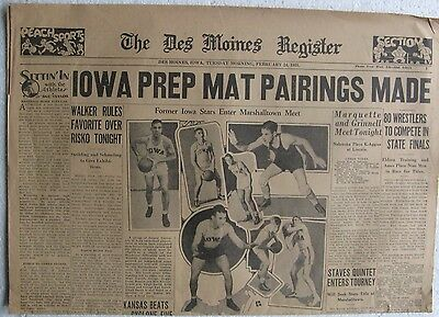 1931 2 24 Newspaper   The Des Moines Register   4 Page Sports And Comic Section