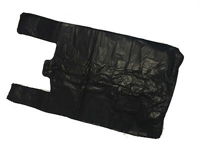 100 LARGE STRONG BLACK VEST CARRIER BAGS 11