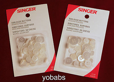 Two 50-count Packages Singer Assorted Pearlized Blouse Buttons 2- & 4-hole 0035