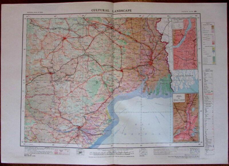 Calcutta Howrah Cuttack Bhubaneshwar c.1979 huge National Atlas of India map