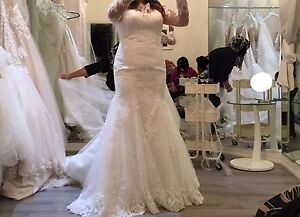 BRAND NEW LONG SLEEVED WEDDING DRESS WITH LACE ILLUSION BACK