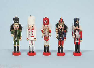 """SET OF 5 WOODEN 5"""" NUTCRACKER SOLDIER CHRISTMAS TREE DECORATIONS BOXED"""