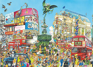 1000 Piece Comic Style Jigsaw Puzzle Piccadilly Circus London * New & Sealed *