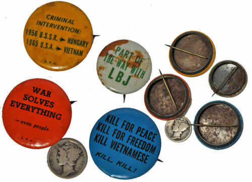 period Vietnam War Protest POLITICAL BUTTONS