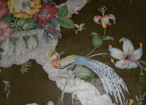 Antique French Floral Bird Chintz Cotton Fabric~Blue Yellow Red Gray Green Olive