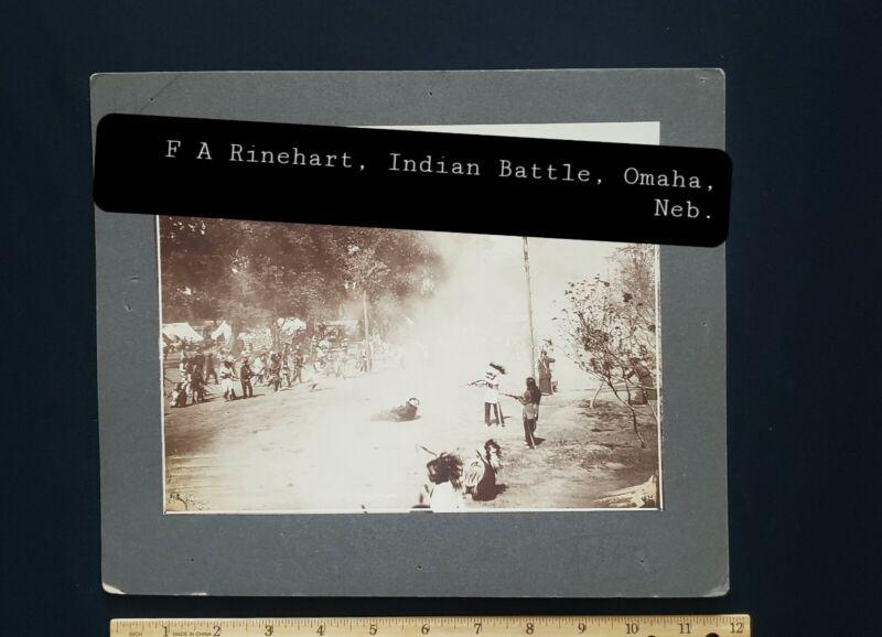 "F.A. Rinehart, Indian Battle, Staged,  10""x12"" Circ; 1899, Omaha, Neb."