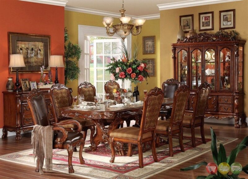 Dresden 9pc Antiquestyle Double Pedestal Dining Table Cherryoak W/ China Cabinet