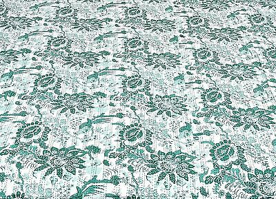 Cotton Handmade Ethnic Kantha Stitch Quilt Bedspread Blanket King Size Bird Prin