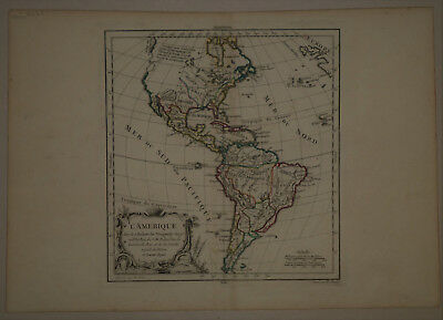 1778 Genuine Antique map North America & South America. by R. De Vaugondy