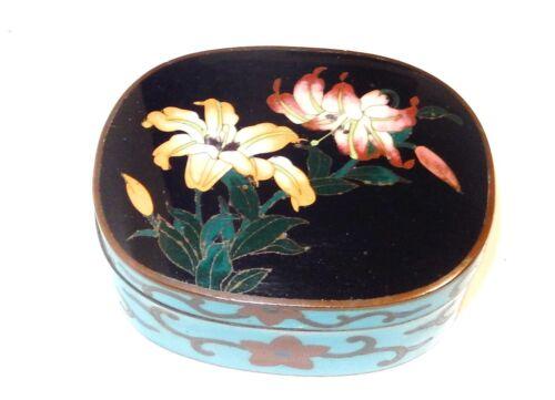 BRONZE JAPANESE CLOISONNE ROYAL BLUE ENAMEL FLORAL JAR BOX