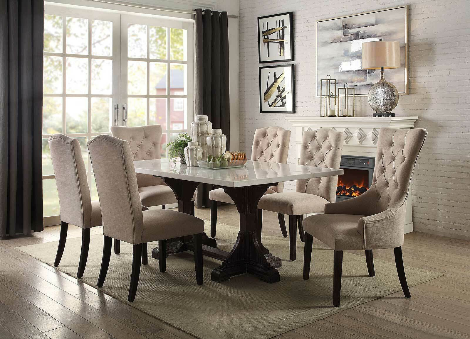 7 piece Dining Room Rectangular Marble Top Table & Fabric Chairs Set