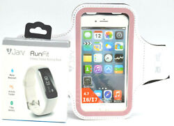 Jarv Runfit Fitness Activity Band Tracker with Arm Band for phone White NIB