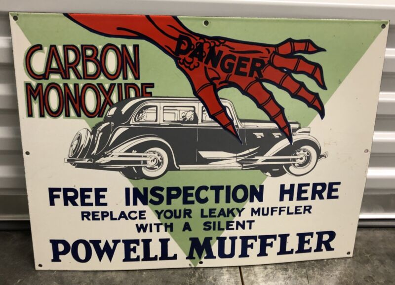 "LARGE VINTAGE 24"" CARBON MONOXIDE POWELL MUFFLER PORCELAIN METAL GAS OIL SIGN!"
