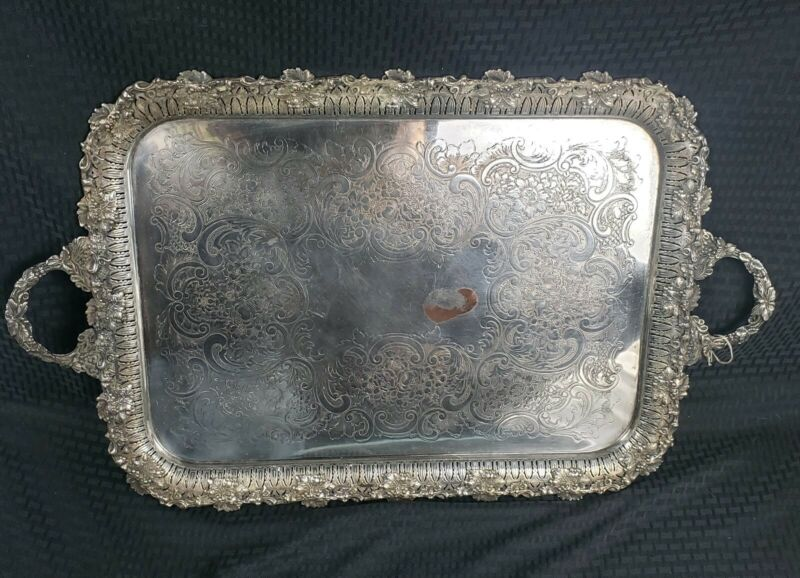 Antique Ellis Brothers Silverpate Large Serving Tray Rare