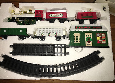 VTG New Bright Quality Toys Santas Musical Express Christmas Train Set w/ Sounds