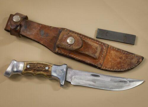 "R.H. Ruana ""M"" Bonner Montana, RARE Hunting Custom Knife, Leather Scabbard,1971"