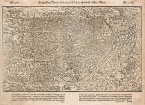 Original antique map of Cairo Egypt by Sebastian Münster from 1588