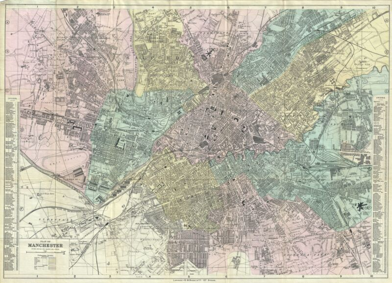1890 Bacon Map or Plan of Manchester, England