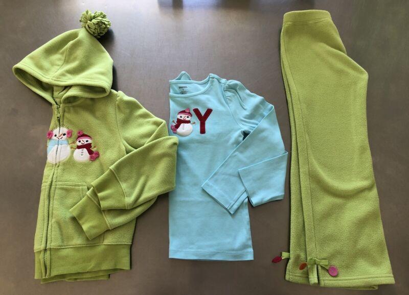 gymboree Cozy Cutie Size 6 outfit Hoodie Top Pant Fleece Green Blue EUC