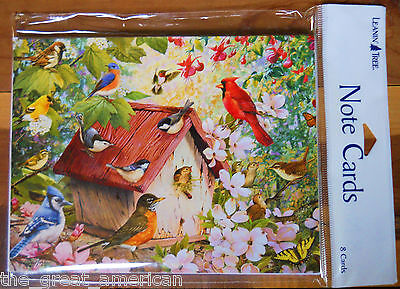 8 Leanin Tree Note Cards LOTS of Birds Cardinal, Blue Bird, Nuthatch, Robin, USA