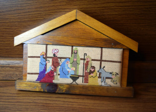 Wood Manger Frame Baby Jesus Nativity Scene Completed Cross Stitch 11 x 7 Inch