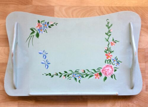 VTG Folding Bed Tray Lap Desk Green w Flowers, General Wood Products Golden Rule