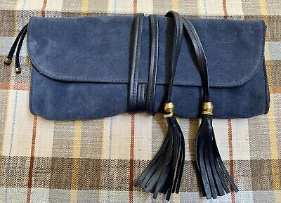 Kendall Conrad Designer Navy Suede Leather Clutch Bag Purse Leather Suede Clutch
