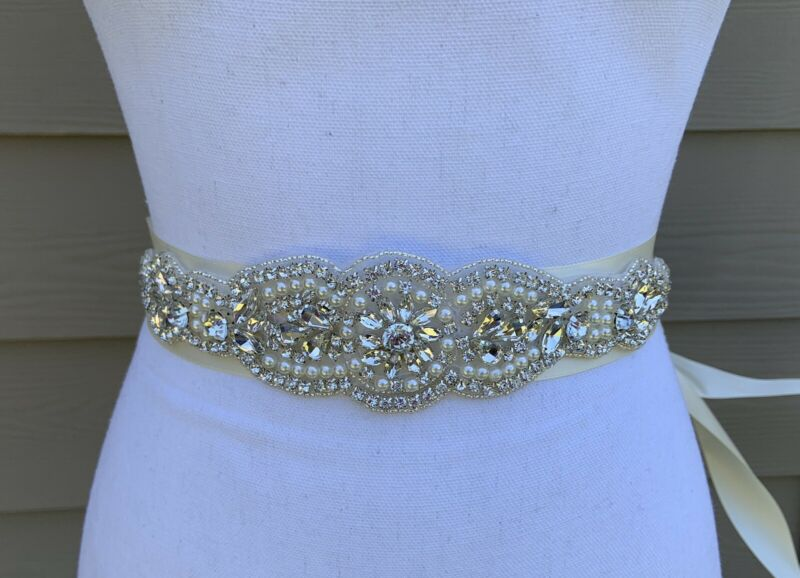 Crystal Rhinestone Wedding / Bridal Ivory Sash Belt