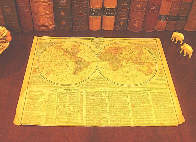 Rare Oiginal 1821 Lavonise Hand-Colored Antique WORLD Hemisphere Map