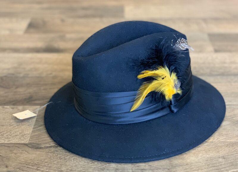 NWT! Women's Doeskin Felt 100% Wool Vintage Hat - Black Yellow Ribbon / Feathers