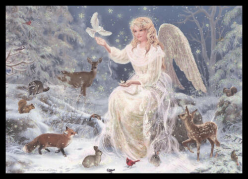 2020GC Liz Goodrick Dillon - Angel Deer Fox - Christmas Greeting Card - Glitter