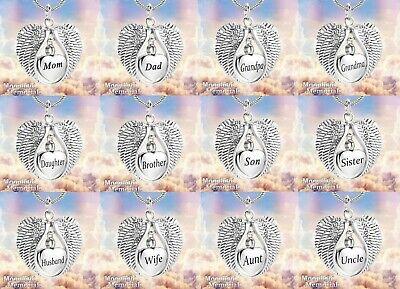 New Angel Wings Heart  Cremation Urn Keepsake Ashes Memorial Necklace Memorial Angel Urn