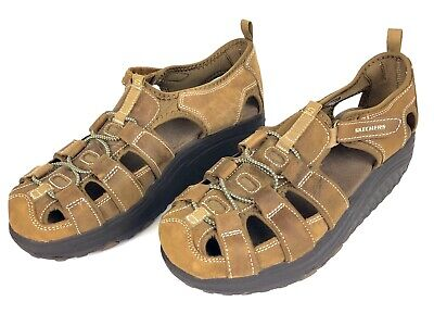 Skechers Shape Ups Sandals Womens Size 8.5 8 1/2 Trim Step Brown Leather 11805