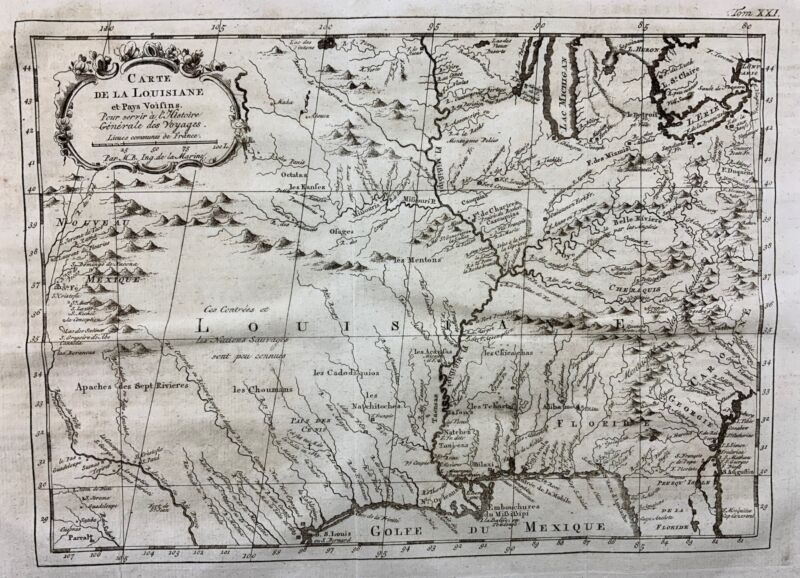 1773 Bellin Map - IMPORTANT MAP of the MISSISSIPPI RIVER